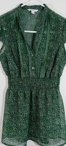Candies Sheer Green Floral Blouse XS